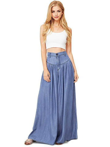 Simple Solid Color Big Hem Wide Leg Bottom Casual Pants BLACK M
