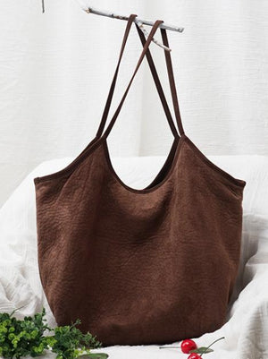 3 Colors Simple Literature Shoulder Bag COFFEE