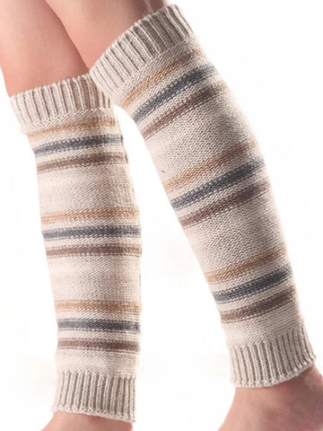 Image of Bohemia 5 Colors Knitting Over Knee-high Stocking BLACK