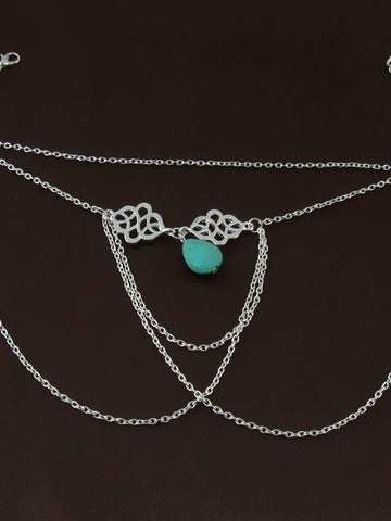 Image of Bohemia Tassels Hollow Turquoise Arm Chain Accessories SLIVER