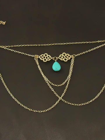 Image of Bohemia Tassels Hollow Turquoise Arm Chain Accessories COPPER