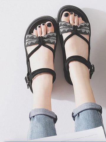 Image of Pretty Beach Flats Sandals BLACK 38
