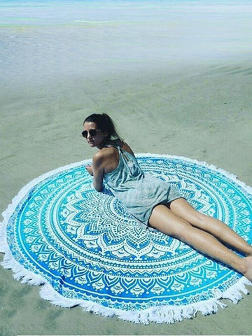 Beautiful Summer Bohemia Round Beach Mat Yoga Mat FUSCHIA