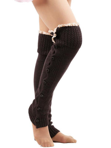 Lace Leg Warmers Jacquard Weave Over Knee-high Stocking DEEP GRAY