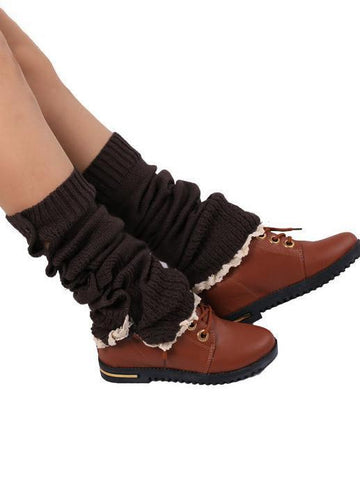 Lace Leg Warmers Jacquard Weave Over Knee-high Stocking KHAKI