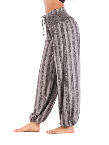 Image of Simple Striped Wide Leg Casual Pants GRAY XL