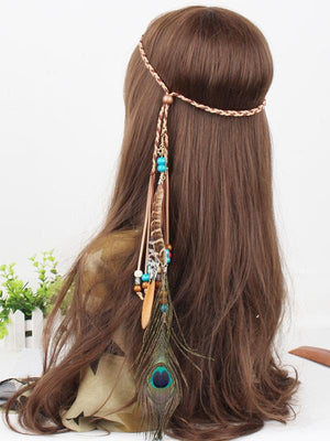 Gypsy Bohemia Peacock Feathers Beads Headwear Accessories -