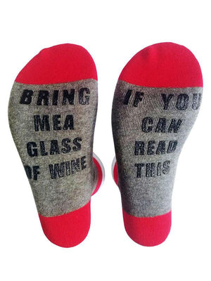 Usual  Alphabet Middle-tube Socks WINE BLACK