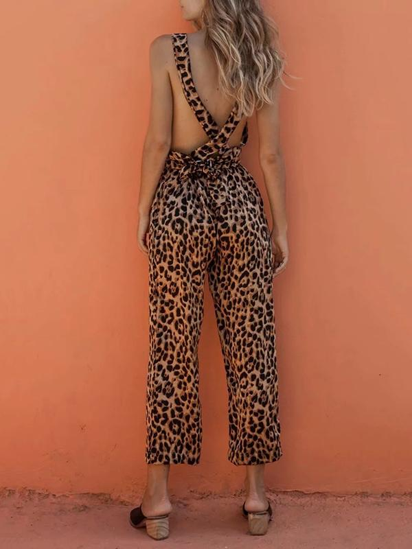Leopard Printed Crossover Strap of Back Jumpsuits SAME AS PICTURES M
