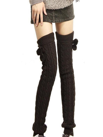 Knitting Solid Color Over Knee-high Stocking COFFEE