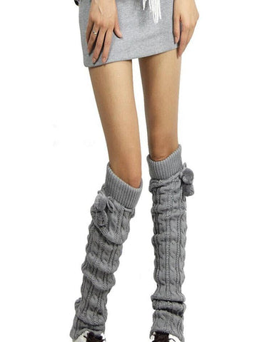 Knitting Solid Color Over Knee-high Stocking LIGHT GRAY