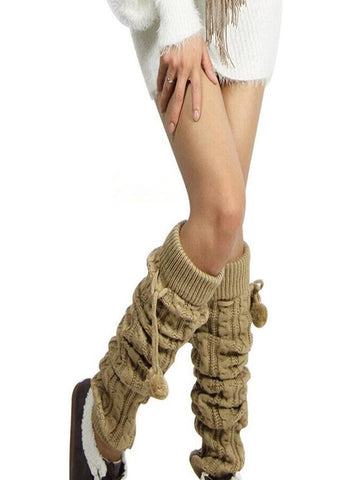 Knitting Solid Color Over Knee-high Stocking KHAKI