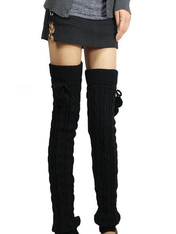 Knitting Solid Color Over Knee-high Stocking BLACK