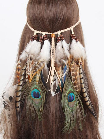 Gypsy Peacock Feathers Headwear Accessories -