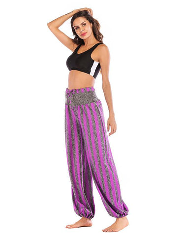 Image of Simple Striped Wide Leg Casual Pants GRAY L
