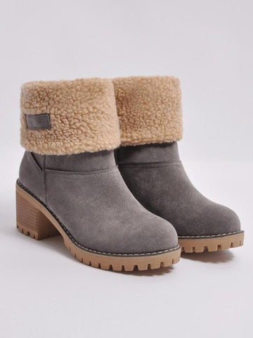 Image of Chunky Mid Calf Winter\u0026Snow Boots CAMEL 37