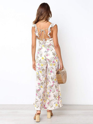 Image of Bohemia Backless 3 Colors Wide Leg Jumpsuits WHITE XL
