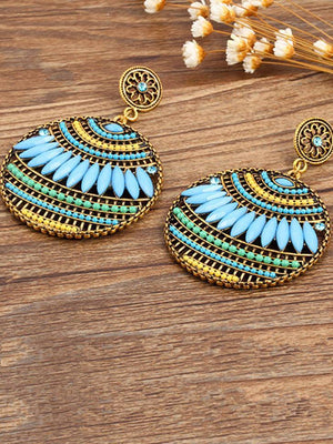 4 Colors Fashion Bohemia Hollow Earrings BLUE