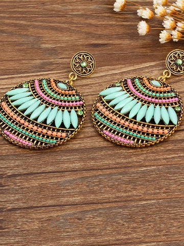 4 Colors Fashion Bohemia Hollow Earrings GREEN