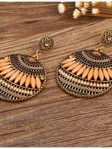 4 Colors Fashion Bohemia Hollow Earrings COFFEE