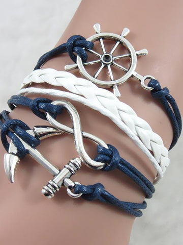 Fashion Boat Anchor Sliver Bracelet Accessories -