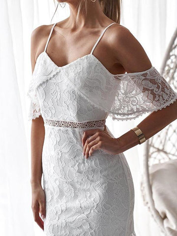 Image of Falbala Lace Hollow Solid Mini Dresses WHITE XL