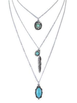 Vintage Flower\u0026Leaf Alloy Turquoise Necklaces Accessories TURQUOISE