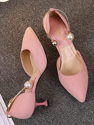 Image of Suede Pointed Mid Heels APRICOT 35