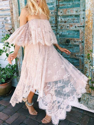 Image of Asymmetric Lace Split-joint Off-the-shoulder Maxi Dress LOTUS PINK S