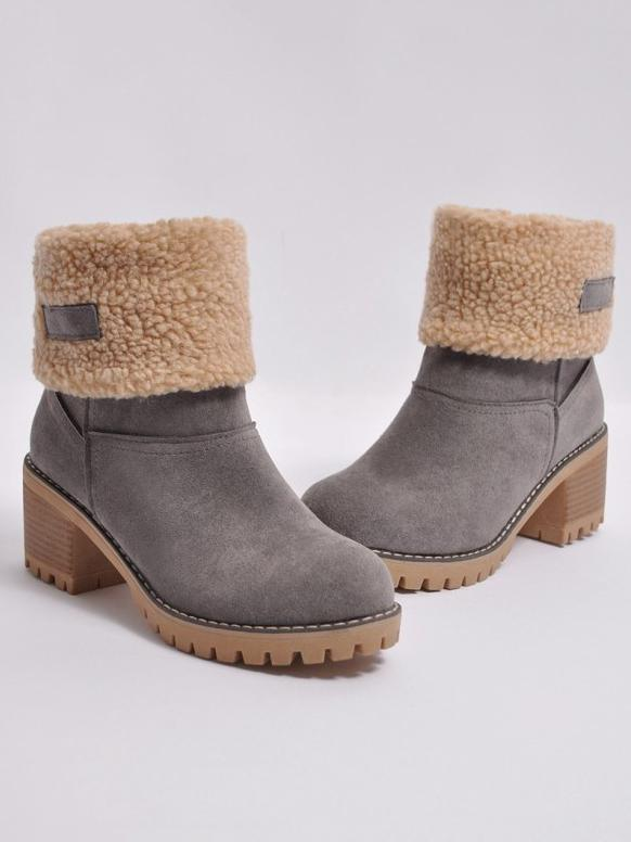 Chunky Mid Calf Winter\u0026Snow Boots BLACK 42