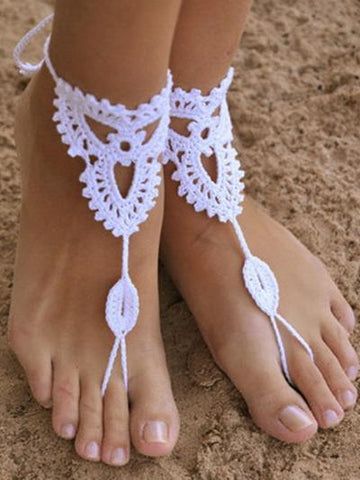 Pretty Crochet Weave Footchain Accessories WHITE A COUPLE