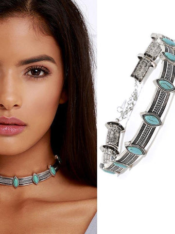 Bohemia Gypsy Turquoise Choker Necklace Accessories SLIVER
