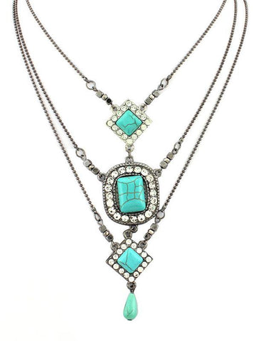 Multilayer Square Pattern Turquoise Necklaces Accessories TURQUOISE