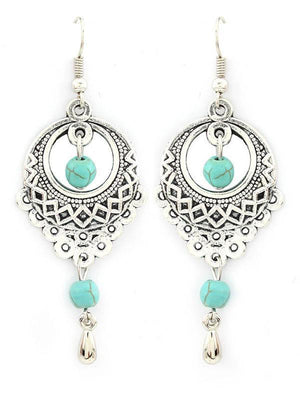 Vintage Ethnic Turquoise Hollow Carved Water Drops Earrings SILVER