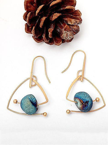 Bohemia Retro Blue Natural Stone Geomertry Earrings -