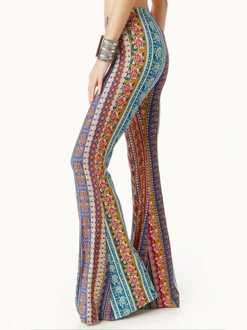 Bohemia Rose Printed Bell-bottoms Casual Pants M