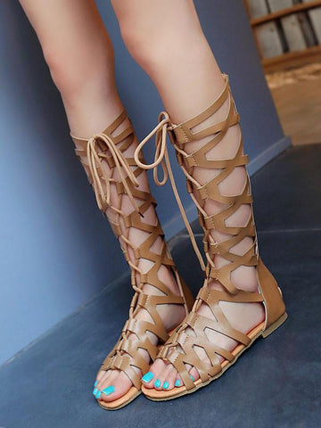 Retro Hight Barrel Hollow Lace-Up Slight Heel Suede Sandals APRICOT 40
