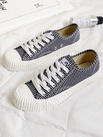 Image of Stripe Canvas Sneaker Casual Shoes RED 37