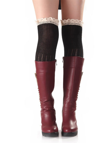 Knitting Lace Solid Color Stocking BLACK