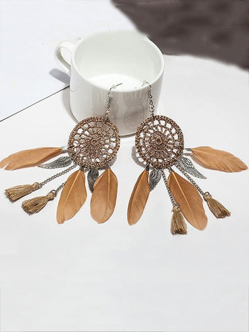 7 Color FeatherTasseled Earring Accessories DEEP-COFFEE