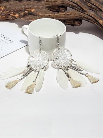 7 Color FeatherTasseled Earring Accessories BLACK