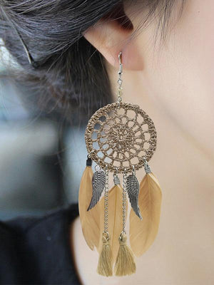 7 Color FeatherTasseled Earring Accessories COFFEE