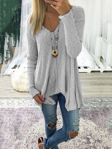Loose Solid Color Long Sleeves Sweater Tops COFFEE S