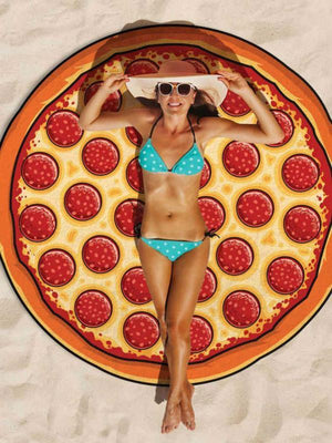 Delicious Pizza Vacation Round Scarve Shawl Beach Mat Free Size
