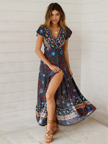 Bohemia V-neck Printed Beach Maxi Dresses LAKE BLUE M
