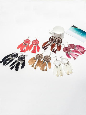 7 Color FeatherTasseled Earring Accessories PURPLE