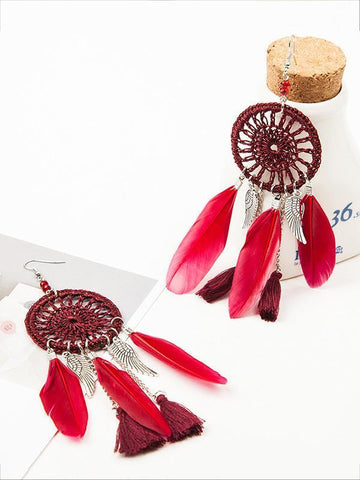 7 Color FeatherTasseled Earring Accessories DEEP-RED