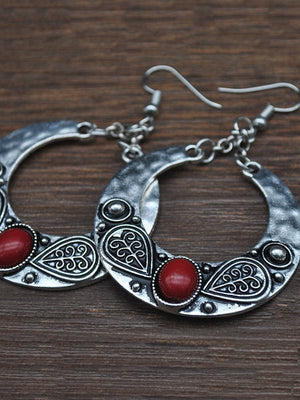Vintage Bohemia Carving Earrings RED