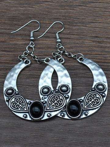 Vintage Bohemia Carving Earrings BLACK