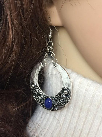 Vintage Bohemia Carving Earrings BLUE
